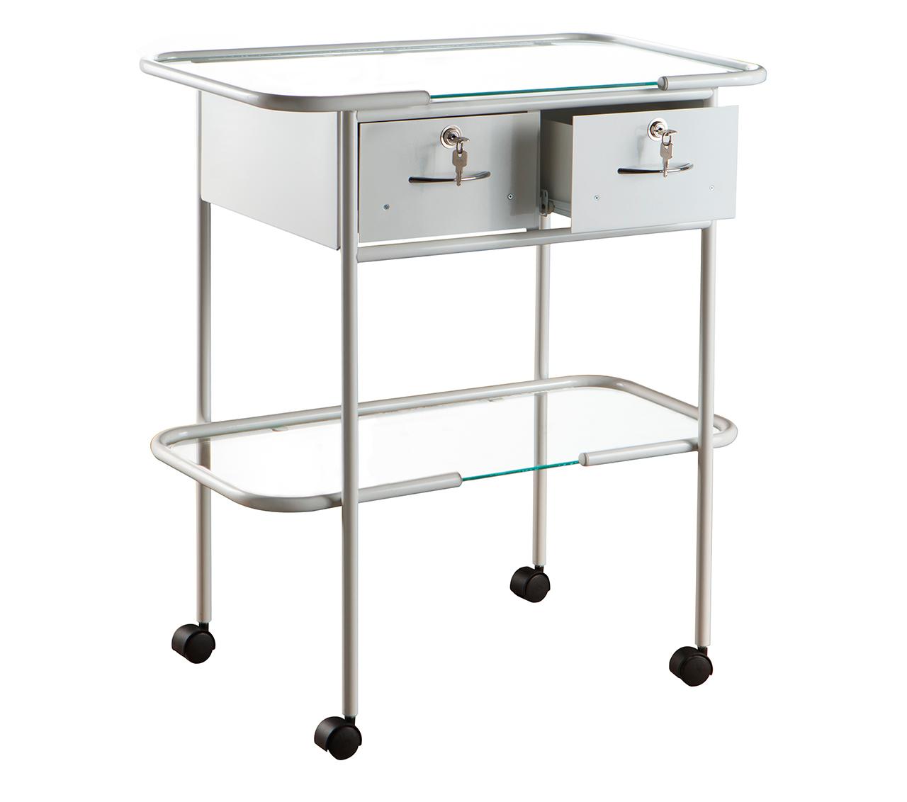 Столик процедурный с двумя ящиками с замками и стеклянной полкой